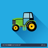 Green Tractor vector flat long shadow icon on blue background. Farm icons collection — Stock vektor