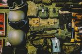 Military helmets on table — Stock Photo