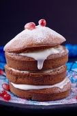 Cupcakes tower with cream — Stock Photo