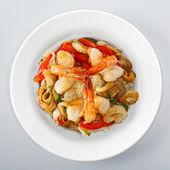 Shrimps On white round dish — Stock Photo
