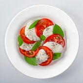 Mozzarella with tomatoes and basil On white dish — Stock Photo