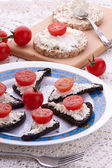 Bruschetta sandwiches with cottage cheese — Stock Photo