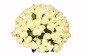Beautiful bouquet of white roses on purely white background. Top — Stock Photo