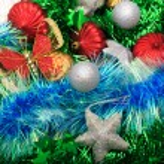 Christmas ornaments, stars, cones, balls, tinsel. — Stock Photo #66232769