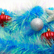Christmas ornaments, stars, cones, balls, tinsel. — Foto de Stock   #66232965
