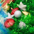 Christmas ornaments, stars, cones, balls, tinsel. — Foto de Stock   #66233027