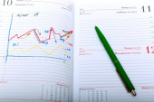 Financial charts in the notebook — Stock Photo