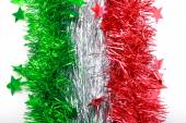 Flag of Italy from Christmas tinsel — Stock Photo