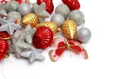 Christmas ornaments, stars, cones, balls, tinsel. — Stock Photo