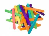 Bunch of colourful popsicle sticks for arts and crafts on a white background — Stock Photo