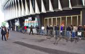 BILBAO, SPAIN - MAY 28 2015:  People queueing for a ticket at San Mames, Athletic Club football team home stadium. Bilbao, Basque Country, Spain — Stock Photo