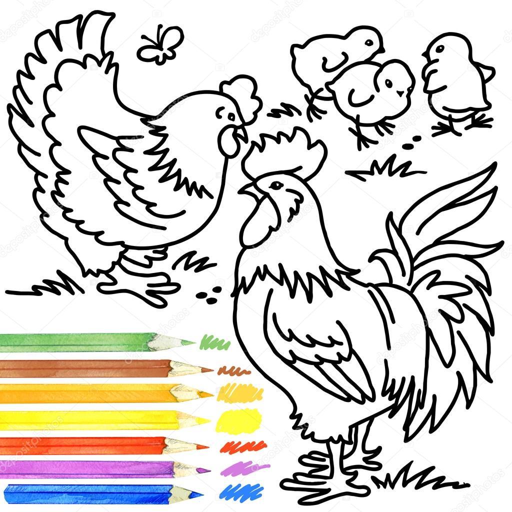 Раскраска петух курица цыплята 181