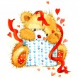 Valentine day. background for card with a cute teddy bear and red heart . watercolor drawing — Stock Photo #60932121