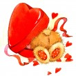 Valentine day. background for card with a cute teddy bear and red heart . watercolor drawing — Stock Photo #60932127