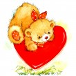 Valentine day. background for card with a cute teddy bear and red heart . watercolor drawing — Stock Photo #60932129