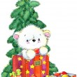 New Year  white bear.Christmas card series. watercolor illustration — Stock Photo #60938411