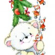 New Year white bear.Christmas card series. watercolor illustration — Stock Photo #60938533