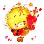 Valentine day. background for a card with a cute ladybug and red heart . watercolor drawing — Stok fotoğraf