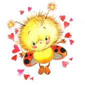 Valentine day. background for a card with a cute ladybug and red heart . watercolor drawing — Stockfoto