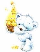White toy teddy bear. Big Dipper series. watercolor drawing — Stock Photo
