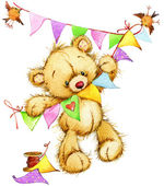 Teddy bear.background for kids birthday greetings festival.watercolor illustracion — Stock Photo