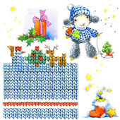 New year sheep.New year and Christmas decoration element set. watercolor drawing — Stock Photo