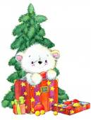 New Year  white bear.Christmas card series. watercolor illustration — Stock Photo