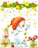 Snowman and background with Christmas decorativ elements. watercolor drawing — Stockfoto