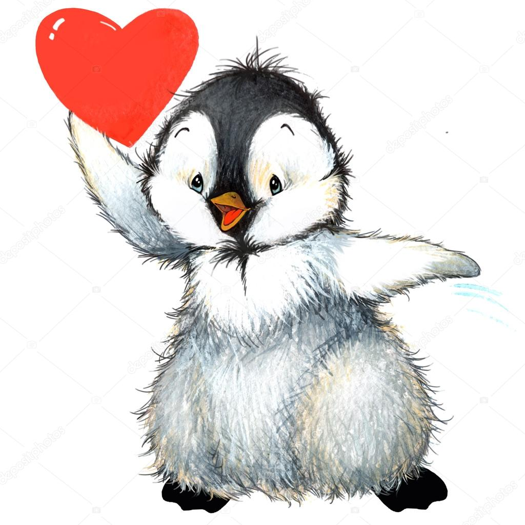 valentine day background for a card with a cute penguin