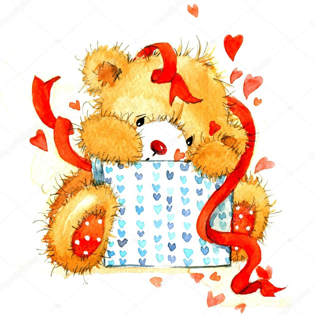 Download - Valentine day. background for card with a cute teddy bear ...