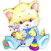 Cute kitten. background for greeting or congratulation with newborn baby. watercolor — Stock Photo