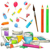 School background. stationery things with pencils, brushes and t — Stock Photo
