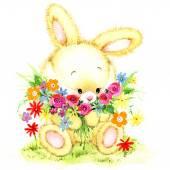 Funny bunny. Fondo de cabrito para felicitaciones. Acuarela — Foto de Stock