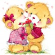 Valentine day. background for card with a cute teddy bear and red heart . watercolor drawing — Stock Photo #60963561
