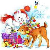 New Year. white teddy bear. background for card with Christmas d — Stock Photo