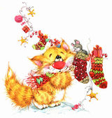 New year funny cat.  Christmas background with winter decor. wat — Stock Photo