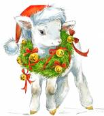 New Year sheep. background for decoration. Christmas series. wat — Stock Photo