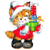 New year Santa Claus.funny cat and Christmas background with winter decoration. watercolor painting — Stock Photo