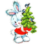 New year Santa Claus.funny bunny and Christmas background with w — Stock Photo