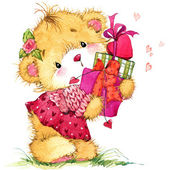 Valentine day. background for card with a cute teddy bear and red heart . watercolor drawing — Foto de Stock