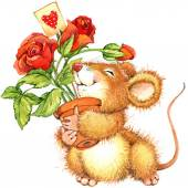 Valentine day. background for a card with a cute mouse and rose. — Stock Photo