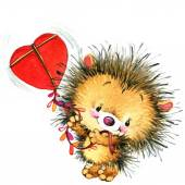 Valentines day. cute hedgehog and red heart. background for card — Foto de Stock