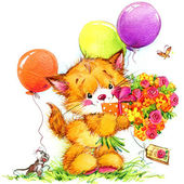 Funny kitten. kid background for holiday greetings . watercolor  — Foto de Stock