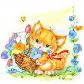 Funny kitten. kid background for holiday greetings . watercolor — Stock Photo