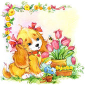 Funny puppy. kid background for holiday greetings . watercolor i — Stock Photo