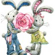 Valentine  Day. rabbit sweet heart. illustration, watercolor, — Stock Photo #61035237