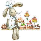 Cute rabbit. background for greetings card kid — Stock Photo