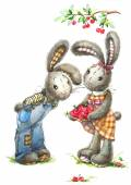 Cute rabbit and cherry.background for greetings card kid — Stock Photo