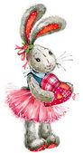 Alla hjärtans dag. söt kanin hjärta. illustration, akvarell, — Stockfoto