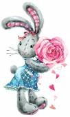 Valentine  Day. rabbit sweet heart. illustration, watercolor, — Stock Photo
